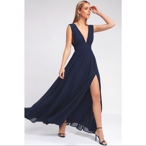 Lulus Heavenly Hues Navy Blue Formal Maxi Dress